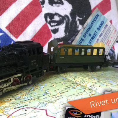 leksakståg på väg till Bruce Springsteens konsert