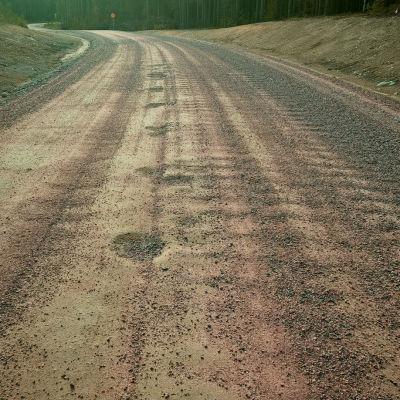 Mangårdsvägen vid Mjölbolsta i Raseborg är full med gropar.