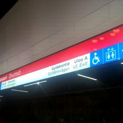 Drumsö metrotstation.