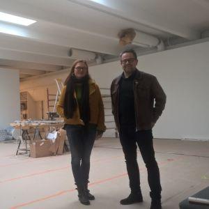 Magdalena Åberg och Thomas Nyqvist i konsthallen Kohta.