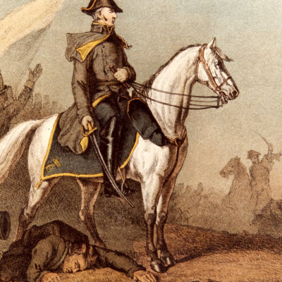 Johan August Sandels ratsailla. Carl Theodor Staaffin maalaus vuodelta 1862.