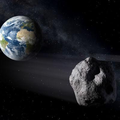 Den europeiska rymdstyrelsens ESA:s visualisering på asteroider i rymden