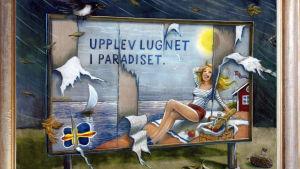 """tecknad satir av bildkonstnären Jonas Wilén. En kvinna ligger på stranden, ålands flagga i bilden, på tavlan står det """"upplev lugnet i paradiset""""."""