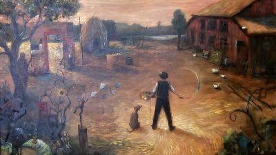 en tavla med en pojke och en hund