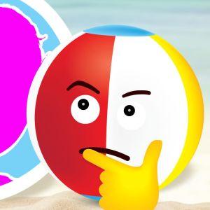 Grafiikka: Rantapallo rannalla. Vieressä siluettikuva kasvoista.