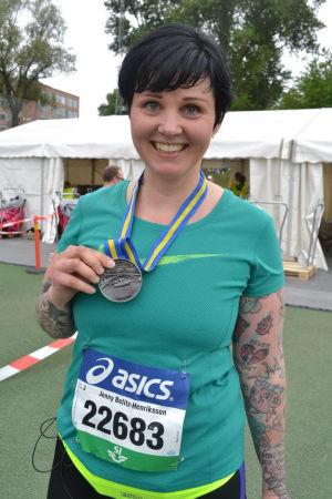Jenny Belitz-Henriksson efter avslutat maraton.
