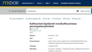 Skärmbild från Jyväskylä universitets biblioteksdatabas med anmärkning om rektors beslut gällande Laura Huhtasaaris pro gradu.