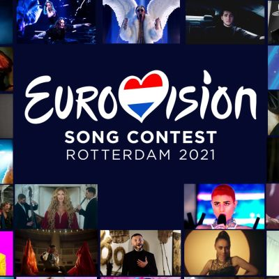 Äänestyskuvassa on kaikki vuoden 2021 edustajat ja Euroviisujen virallinen logo.