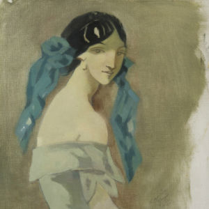 Målning av ung kvinna i blå toner. Kvinnan är klädd i en klänning och har en blå scarf i håret.