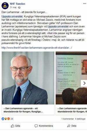 """""""Dan Larhammar riskerar att bli polisanmäld för grovt förtal"""" hävdar föreningen NHF Swedens Facebookinlägg."""
