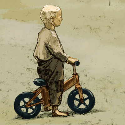 Poika, pyörä ja varis