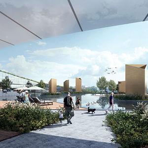 En skiss över det nya upplevelsecentret i Åbo