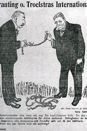 karikatyr om socialism, två män ett rep
