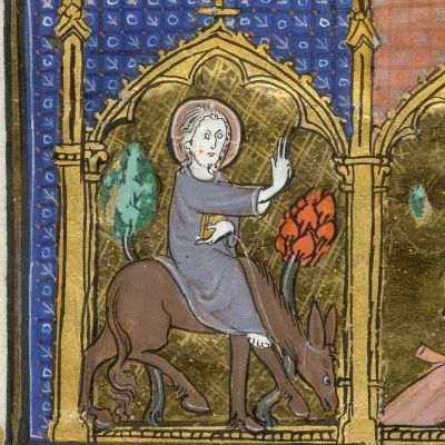 Detail of the upper section of the miniature, with scenes of the Entry of Jesus into Jerusalem [Palm Sunday]. Image taken from f. 17v of Psalter and Hours, Use of Arras. Written in Latin, with some French.