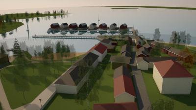 En skiss över en stadsdel vid havet där det finns flytande hus vid en brygga, längst ut vid udden.