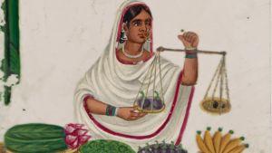 Sittande kvinnlig fruktförsäljare som håller upp en våg. Seated female fruit vendor holding a balance.