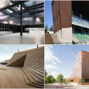 Kollage med byggnader som tävlar i Arkitekturfinlandia 2016.