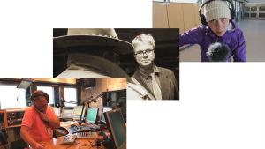 """Ted Urho, Christoffer Gröhn och Carina Bruun. Skärmdumpar från filmen """"Yle Huvudstadsregionen - Ingenting är för lokalt för oss."""""""