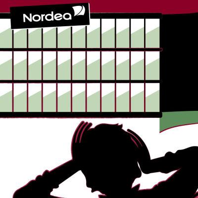 Kuvituskuva. Taustalla iso toimistorakennus, jonka huipulle Nordean logo. Edessä näkyy joukko hätääntyneitä tummia hahmoja