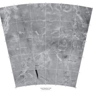 Venuksen pinnalla oleva Aino-tasanko tutkakuvassa.