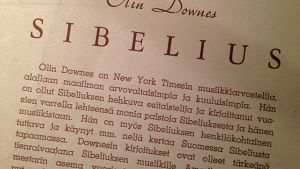 Olin Downesin Sibelius-kirjan suomennoksen esittelytekstiä.