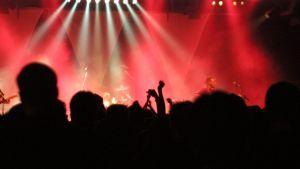 Yleisöä rock-konsertissa.