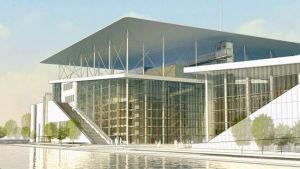 Kreikan kansallisooppera odottaa pääsyä Stavros Niarchos -säätiön kulttuurikeskuksen v. 2016 valmistuviin tiloihin. Rakennus on Renzo Pianon käsialaa.