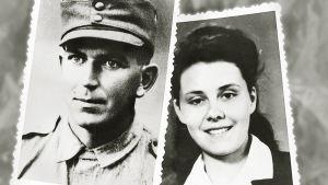 Vanhat valokuvat sotilaasta ja nuoresta naisesta