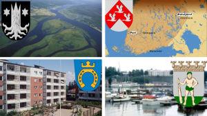 Kuvia ja vaakunoita suomalaisista kaupungeista. Espoo, Lappeenranta, Kemijärvi