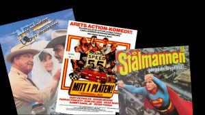 """Filmomslagen till """"Nu blåser vi snuten"""", """"Mitt i plåten!"""" och """"Stålmannen - går på en """"kryptonit""""."""