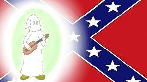 Kaapuasuinen Ku Klux Klanilainen soittaa kitaraa. Piirros: Veera Pohjola Taustalla Yhdysvaltain etelävaltioiden lippu (AP)