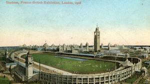 Postikortti Lontoon olympiastadionista (1908).