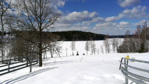 Kuvassa talvinen aukea.