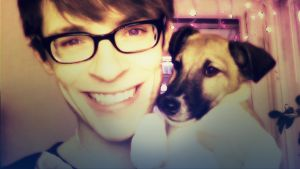 Jonas Englund och hunden Max