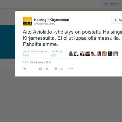 Helsingin Kirjamessujen Twitter-tili.