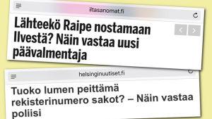 Otsikot Ilta-Sanomissa ja Helsingin uutisissa, kuvankaappaus Klikinsäästäjä-yhteisöstä