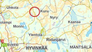 karta över fynden i Hausjärvi