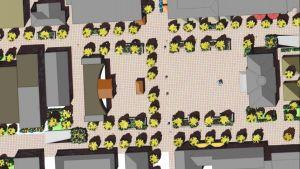 Planteringar och mötesplatser på torget i Jakobstad enligt byråarkitekt Sören Öhbergs vision i hans magistersavhandling