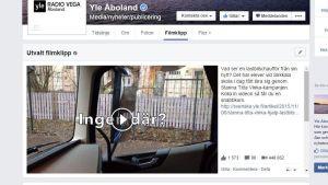 Skärmdump från Yle Åbolands facebook-sida.
