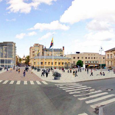 En skiss över nybygget vid torget i Jakobstad