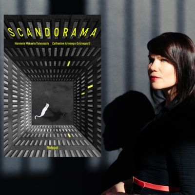 Hannele Mikaela Taivassalo och pärmen till den dystopiska serieberättelsen Scandorama.