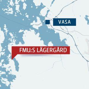 Bild på karta över vasa skärgård. FMU:s lägergård är utmärkt på kartan.