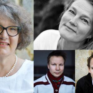 Författarna Monika Fagerholm, Mikaela Nyman, Niillas Holmberg och Juha Itkonen.