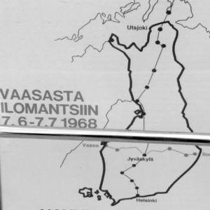 Karttakuva Arvo Saarisen protestimarssista Vaasasta Ilomantsiin 1968.