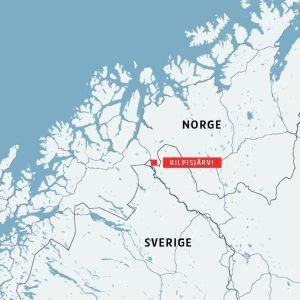 Karta av Kilpisjärvi