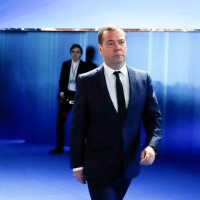 Dmitri Medvedev 15. tammikuuta Moskovassa presidentti Putinin vuotuisessa, maan tilaa luotaavassa tilaisuudessa.