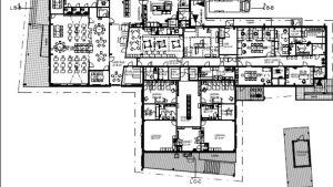 Karta över rumsfördelningen i Svartå skolcentrum, del två.