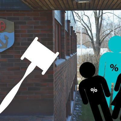 Ett bildcollage av en byggnad i ett landskap och ovanpå det en grafisk bild av en ordförandeklubba samt grafiska personfigurer med procenttecken på sina magar.