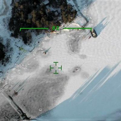 Sjöbevakningens flygfoto av plats för räddningsoperation