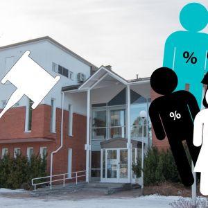 Ett bildcollage av en byggnad och ovanpå det en grafisk bild av en ordförandeklubba samt grafiska personfigurer med procenttecken på sina magar.
